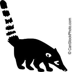 Coati with striped tail