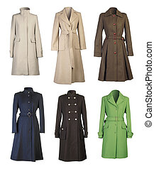 Six woman coats isolated on white background