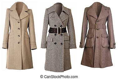 Three winter coats isolated on white background