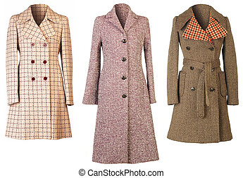 Three woman coats isolated on white background