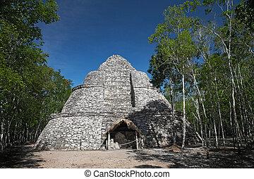 coba, ピラミッド, xaibe, mayan, メキシコ\