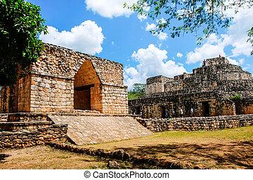 coba, mexico., starożytny, mayan, miasto, w, meksyk