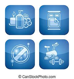 Cobalt 2D Squared Icons Set: Hotel