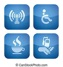 Various hotel icons: Wireless LAN with Internet access, Wheelchair Friendly Rooms, Cafe/Bistro, Mobile Phone Reception