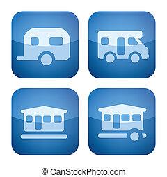 Various camping icons: Caravan, Camper van, Cabin, Movable Cabin