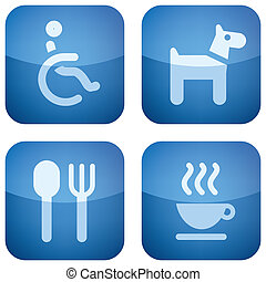 Various camping icons: Disabled person friendly, Animals friendly, Park has a Restaurant, Cofe Shop in the Area