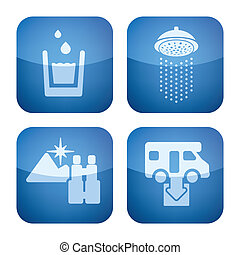 Various camping icons: Drinkable water, Shower, Nice Landscape View, Dumb Point