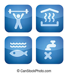 Various camping icons: Gym room, Sauna, Aquarium, Non drinkable water