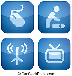 Various camping icons: Internet available, baby room, WiFi available, TV room