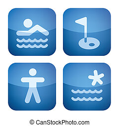 Various camping icons: Park has a swimming pool, Golf in the area, Gym room available, Lake or River Nearby