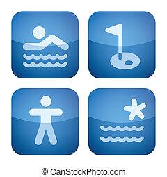 Cobalt 2D Squared Set: Camping - Various camping icons: Park...