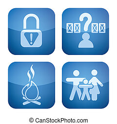 Various camping icons: Park is not secure, Pick Your Own Site, Fire allowed, Familly friendly