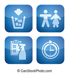 Various camping icons: Rubbish bins, Toilet, Amenities are clean, Arrive at any time