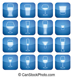 Range of alcohol glasses from beer to vodka Vector icons set saved as an Adobe Illustrator version 8 EPS file format easy to edit, resize or colorize. Files are created in CMYK color space safe for prints and easy to convert to RGB color space.