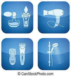 Bathroom theme icons set covering everyday objects from flush toilet to stall shower.