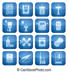 Cobalt Square 2D Icons Set: Bathroom - Bathroom theme icons...