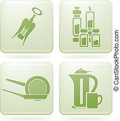 Cobalt Square 2D Icons Set: Kitchen utensils