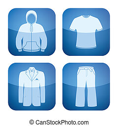 Man's Clothing theme icons set covering all man's may dress. Vector icons set saved as an Adobe Illustrator version 8 EPS file format easy to edit, resize or colorize. Files are created in CMYK color space safe for prints and easy to convert to RGB color space.