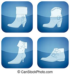 Cobalt Square 2D Icons Set: Shoes