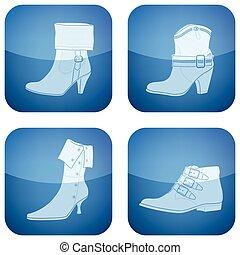 Cobalt Square 2D Icons Set: Shoes