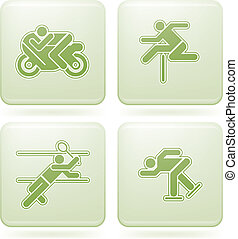 Cobalt Square 2D Icons Set: Sport