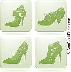 Cobalt Square 2D Icons Set: Woman\'s Shoes