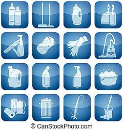 cobalto, quadrado, 2d, ícones, set:, limpeza