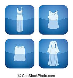 cobalto, quadrato, 2d, icone, set:, woman\'s, abbigliamento