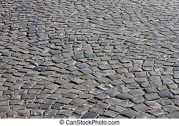 cobble stone road in Uzhgorod, Ukraine