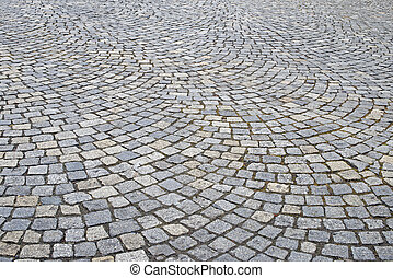 Detail of a cobbled road