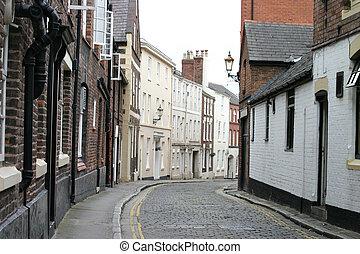 cobbled, strada, inghilterra, chester