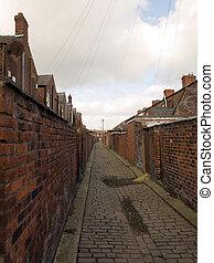 cobbled, strade, vecchio, settentrionale, britannico