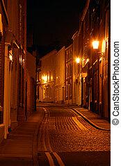 Cobbled Street At Night