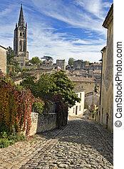 Cobbled Street of Saint Emilion in Bordeaux - A Unesco World Heritage Site.
