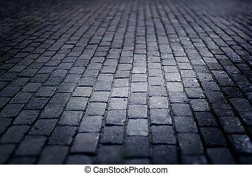 cobbled, vecchio, pavimento, notte, stile, fuoco, strada, ...