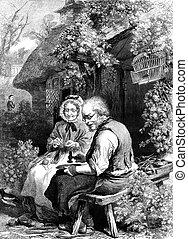 Cobbler - An engraved vintage illustration portrait of a...
