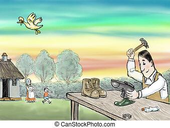 cobbler at work, illustration