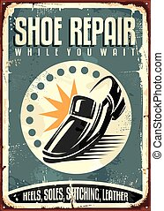 Shoes repair shop vintage sign