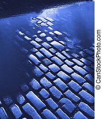 cobblestone, út, alatt, kék