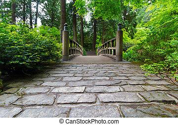cobblestone, út, fordíts, erdő, bridzs