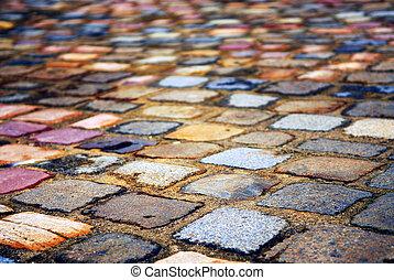 Cobblestone background - Background of colorful cobblestone ...