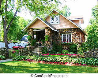 Cobblestone House 3 - Cobblestone House with green grass and...