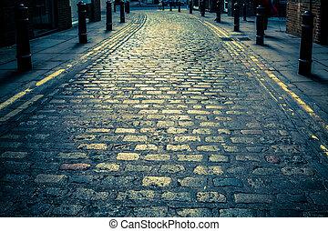 Cobblestone Lane - Old cobblestone road in London UK
