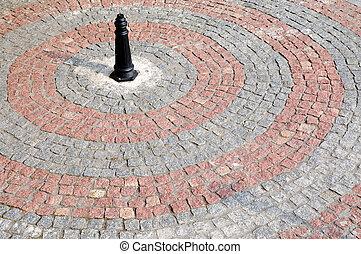 cobblestone made of red and gray granite