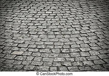 cobblestone, oud, straat.