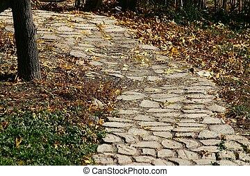 Cobblestone Path - Cobblestone path amid fallen leaves. ...