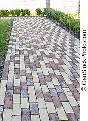 Cobblestone path in a garden