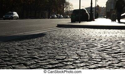 Cobblestone road at St. Petersburg - Cobblestone road at...