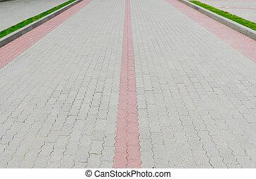 cobblestone road in the park