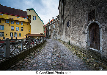 Cobblestone street and medieval architecture at night, in the Old Town of Tallinn, Estonia.